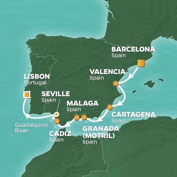 Azamara Spain Map
